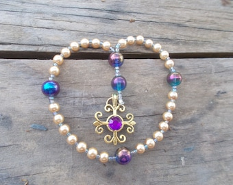 Gold and Purple Devotional Aid, Prayer Beads, Anglican Rosary, Protestant Prayer Beads, Gift for Her, Gift for Him, Christian Gift.