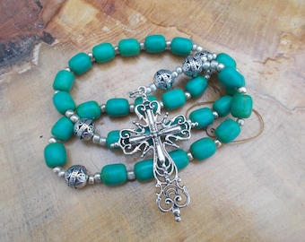 Magnasite Tourquoise, Devotional Aid, Prayer Beads, Anglican Rosary, Protestant, Gift for Her, Gift for Him, Christian Gift, Religious Gift,