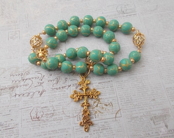 Gold and Aqua Devotional Aid, Rosary, Anglican Rosary, Protestant Prayer Beads, Beaded Rosary, Christian Gift, First Communion Gift, Baptism