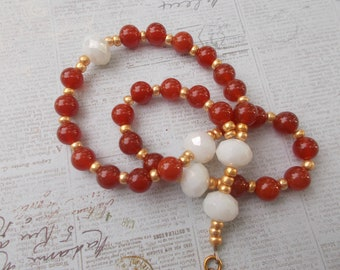 Red and White Rosary, Devotional Aid, Rosary Prayer Beads, Beaded Rosary, Prayer Focus, Christian Gift, First Communion Gift, Baptism Gift