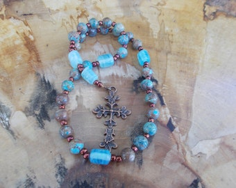 Turquose and Copper, Devotional Aid, Prayer Beads, Anglican, Christian, Protestant, Episcopal, For Her, For Him, Religious Gift, Christian