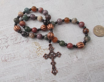 Indian Agate Devotional Aid, Rosary Prayer Beads, Beaded Rosary, Prayer Focus, Christian Gift, First Communion Gift, Baptism Gift