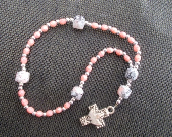 Anglican Rosary | Small Rosary | Coral Beads | Silver Cross with Dove,  Protestant Prayer Beads, Devotional Aid, Gift for Her, Christian