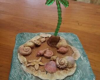 Shell Island, Beachy Keepsake Box, Beachcomber Keepsake Tin Box, Decorated Tin Box, Home Decor, Office Decor, All Ocassion Gift, Christmas