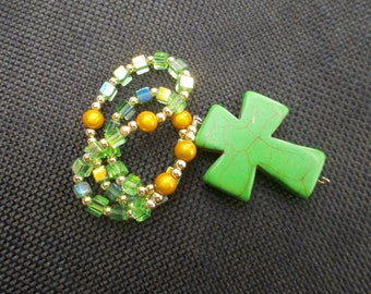 Anglican Rosary | Rosary | Glass Beads | Green Cross | Religious Gift | Gift Rosary  | Prayer Beads | Anglican Prayer Beads. Protestant