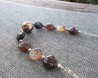 Shades of Brown Necklace | Pearl Bead | Gemstone Beads |