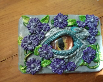 Dragon Eye Tin Box, Hand Decorated Tin Box, Keepsake Tin Box, Handmade Home Decor,  Gift