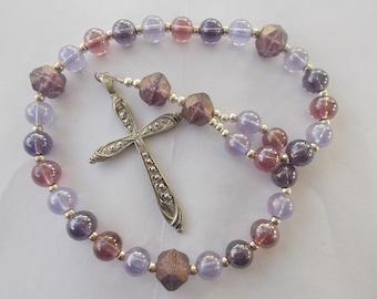 Phantom Purple Beads, Devotional Aid, Rosary Prayer Beads, Beaded Rosary, Prayer Focus, Christian Gift, First Communion Gift, Baptism