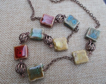Handmade Necklace \ Copper \ Square Beads \ Red \ Yellow \ Green \ Blue \ Copper Beads \ Excellent All Occasion Gift \ Gift for Her \