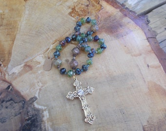 Lt and Dk Green Beads, Devotional Aid, Prayer Beads, Anglican Rosary, Christian, Protestant, Episcopal, For Her, For Him, Religious