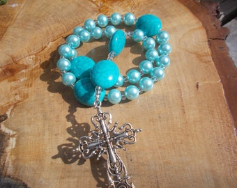 Turquoise Color Beads, Devotional Aid, Prayer Beads, Anglican Rosary, Christian Gift, Protestant Prayer Beads, Episcopal, For Her, For Him