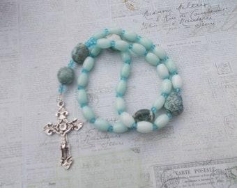 Aqua Glass Beads, , Devotional Aid, Rosary Prayer Beads, Beaded Rosary, Prayer Focus, Christian Gift, First Communion Gift, Baptism Gift