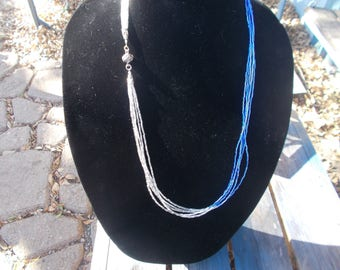 Necklace, Blue and Silver, Dress up Necklace, Formal Necklace, Magnetic ball clasp,