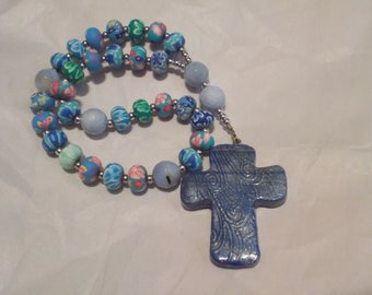 Blue Colorful Rosary, Devotional Aid, Rosary Pray Beads, Beaded Rosary, Episcopal Rosary, Christian Gift, Gift for Her, Prayer Focus