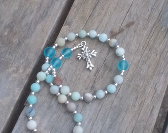 Anglican Rosary, Amazonite Gemstone Prayer Beads, Rosary, Religious Gift,  Amazonite Gemstone Rosary. Christian Gift, Episcopal Gift,