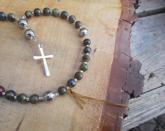 African Green Turquoise, Devotional Aid, Prayer Beads, Anglican Rosary, Protestant PrayerBeads, Gift for Her, Gift for Him, Christian Gift.