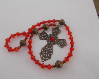 Red Devotional Aid, Rosary, Prayer Beads, Anglican Rosary, Protestant Prayer Beads, Gift Rosary, Gift for Her, Gift for Him, Christian Gift,