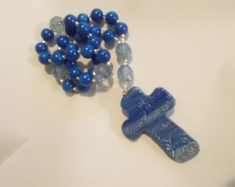 Blue Rosary Devotional Aid, Rosary Prayer Beads, Beaded Rosary, Prayer Focus, Christian Gift, First Communion Gift, Baptism Gift
