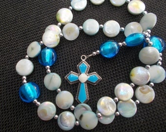Anglican Rosary | Rosary | Wood Beads | Glass Beads |Blue Cross | Religious Gift | Gift Rosary  | Prayer Beads | Anglican Prayer Beads.