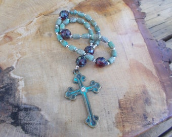 Turquoise Prayer Beads, Devotional Aid Prayer Beads, Anglican Rosary, Christian Prayer, Protestant, Episcopal, For Her, For Him, Christian
