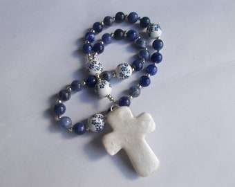 Blue and White  Devotional Aid, Rosary Prayer Beads, Beaded Rosary, Prayer Focus, Christian Gift, First Communion Gift, Baptism Gift