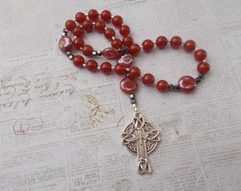Red Agate Devotional Aid, Rosary Prayer Beads, Beaded Rosary, Prayer Focus, Christian Gift, First Communion Gift, Baptism Gift