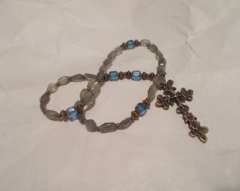 Blue Labrodite Gemstone, Devotional Aid, Rosary Prayer Beads, Beaded Rosary, Christian Gift, First Communion Gift, Baptism Gift