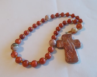 Orange Gemstones Devotional Aid, Rosary Prayer Beads, Beaded Rosary, Prayer Focus, Christian Gift, First Communion Gift, Baptism Gift