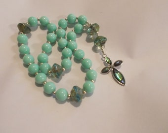 Seafoam Green  Devotional Aid, Rosary Prayer Beads, Beaded Rosary, Prayer Focus, Christian Gift, First Communion Gift, Baptism Gift