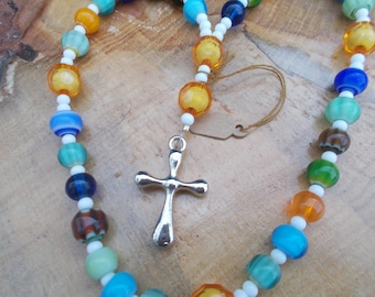 Multicolor Glass Beads,Devotional Aid Prayer Beads, Anglican Rosary, Christian Protestant, Episcopal, For Her, For Him, Christian, Religious