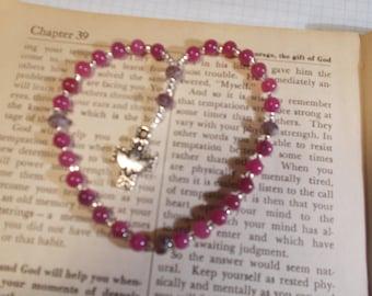 Pink Glass Beaded , Devotional Aid, Rosary Prayer Beads, Beaded Rosary, Prayer Focus, Christian Gift, First Communion Gift, Baptism Gift