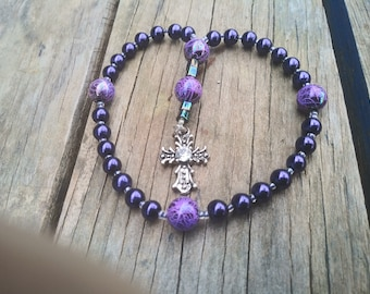 Small Purple Devotional Aid, Prayer Beads, Anglican Rosary, Protestant Prayer Beads,  Gift for Her, Gift for Him, Christian Gift