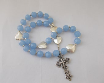 Lt Blue Crystal, Devotional Aid, Rosary Prayer Beads, Beaded Rosary, Prayer Focus, Christian Gift, First Communion Gift, Baptism Gift