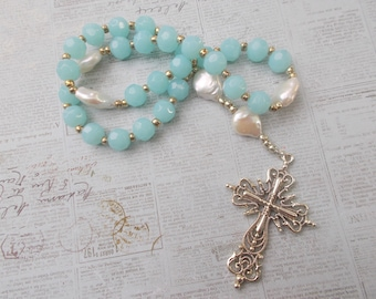 Aqua Devotional Aid, Rosary Prayer Beads, Beaded Rosary, Prayer Focus, Christian Gift, First Communion Gift, Baptism Gift , Episcopal Rosary