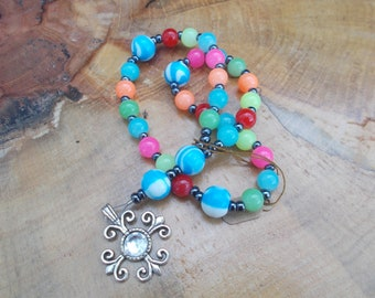 Bright Multicolor with French Cross, Devotional Aid, Prayer Beads, Anglican Rosary, Christian Prayer Aid, For Her, For Him, Religious Gift