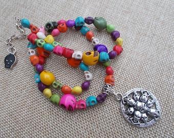 Handmade Multi Color Skeleton Necklace\ Colorful Skeleton Necklace \ Silver Skeleton Pendant \ All Occasion Gift \ Christmas \ Birthday \