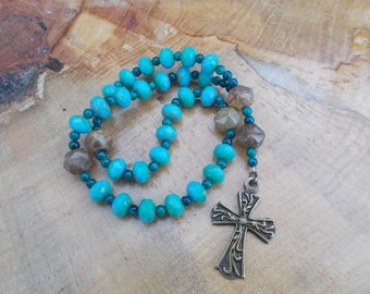 Aqua Blue Green Glass Beads,Devotional Aid, Prayer Beads,Anglican Rosary,Christian,Protestant,Episcopal,For Her,For Him,Christian, Religious