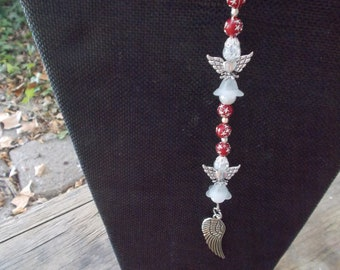 Beaded Angels and Wings, Red Beads, 3 Angel Hanger, Hanging Angel Decoration, Home Decor, Hanging Decor