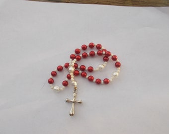 Red and White Devotional Aid, Prayer Aid, Episcopal Rosary, Protestant Prayer Beads, Christian Prayer Aid, Christian Gift, Religious Gift,