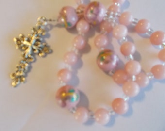 Pink Cloisonne Devotional Aid, Rosary Prayer Beads, Beaded Rosary, Prayer Focus, Christian Gift, First Communion Gift, Baptism Gift