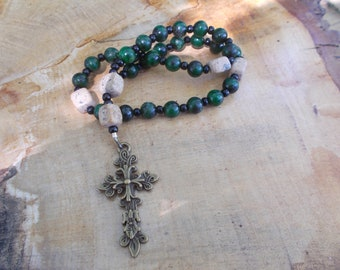 Dark Green Beads,Devotional Aid,Prayer Beads, Anglican, Christian, Protestant, Episcopal, For Her, For Him, Religious Gift, Christian Gift,