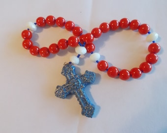 Red White & Blue Devotional Aid, Rosary Prayer Beads, Beaded Rosary, Prayer Focus, Christian Gift, First Communion Gift, Baptism Gift