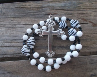 White and Zebra Print,Devotional Aid, Prayer Beads, Anglican Rosary, Protestant Prayer Beads, s, Gift for Her, Gift for Him, Christian Gift.