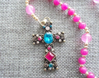 Pink Beaded Anglican Rosary | Protestant Rosary | Prayer Beads | Gift for Her | Religious Gift | Prayer Beads | All Occasion Gift | Handmade