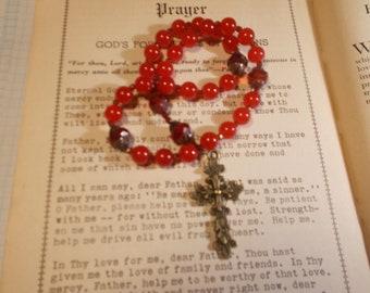 Red Beaded Devotional Aid, Rosary Prayer Beads, Beaded Rosary, Prayer Focus, Christian Gift, First Communion Gift, Baptism Gift