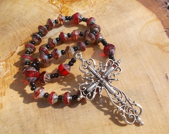 Red Faceted Glass Beads, Devotional Aid, Prayer Beads, Anglican Rosary, Christian, Protestant, Episcopal Roary, For Her, For Him