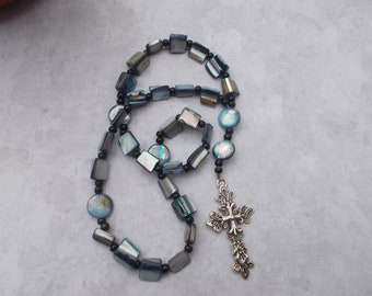 Blue Shell Anglican Rosary, Devotional Aid, Rosary Prayer Beads, Rosary, Prayer Focus, Christian Gift, First Communion Gift, Baptism Gift