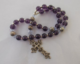 Purple Rosary, Devotional Aid, Rosary Prayer Beads, Beaded Rosary, Prayer Focus, Christian Gift, First Communion Gift, Baptism Gift