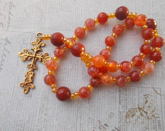 Orange Devotional Aid, Anglican Rosary Prayer Beads, Protestant Beaded Rosary, Christian Gift, First Communion Gift, Baptism Gift