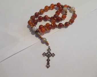 Red Agate, Devotional Aid, Prayer Beads, Beaded Rosary, Christian Gift, First Communion Gift, Baptism Gift, Protestant Beads, Religious Gift